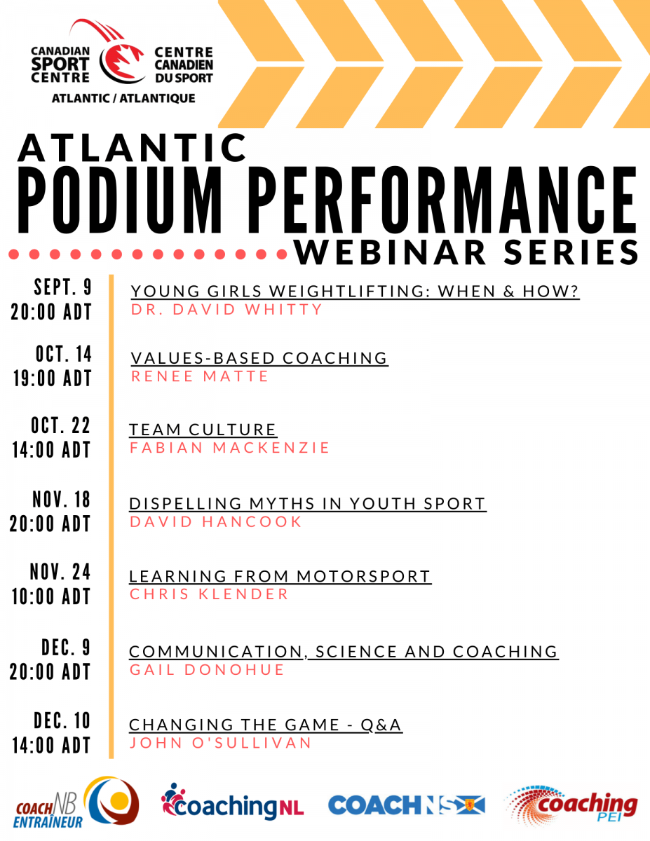 Atlantic Podium Performance events for fall