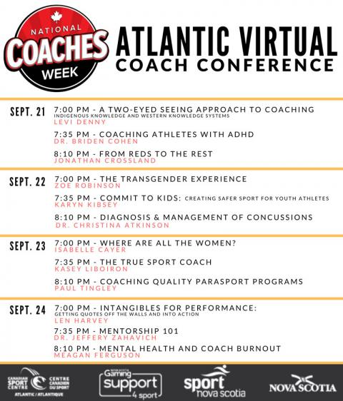 list of Atlantic Virtual Coach Conference schedule